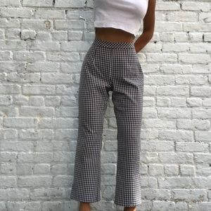Kick Flare Black and White Gingham Pants